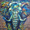 Eléphant - acrylique sur bâche industrielle : 135 x 170 cm