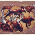 La Horde - acrylique sur matière artisanale, torchis paille