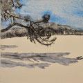 'Wandeling in de duinen'#3, 2013/ aquarelverf, pigment, houtskool op houtplankje, 21,5x20cm
