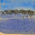 'Blauwduinen' 2013/ aquarelverf, pigment, houtskool op houtplankje, 21,5x20cm/ verkocht