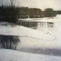 Wandeling in de winter #1, 2012 / acrylverf en pigment,houtskool op linen doek / 84x100cm, price: by request