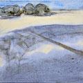 'Wandeling in de duinen'#2, 2013/ aquarelverf, pigment, houtskool op houtplankje, 21,5x20cm