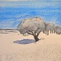 'Wandeling in de duinen'#1, 2013/ aquarelverf, pigment, houtskool op houtplankje, 21,5x20cm