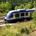 Triebwagen der BRB auf dem Hinterstellgleis wartet auf seinen nächsten Einsatz