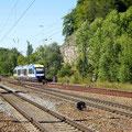 Blick vom Bahnsteig auf das Hinterstellgleis