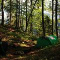 Errichten unser Camp abseits jeglicher Wege