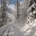 ... und eine alte Bahntrasse entlang.