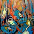 Gusanos y Capullos, mixta sobre papel, 72 x 67 cms, 2010