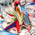 Encuentros y Desencuentros, mixta sobre papel, 29,5 x 21 cms, 2008, Sold VENDIDA