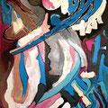 Fui Izado por Ángeles, acrílico sobre cartón, 75 x 52,5 cms, 2009
