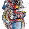 Mantra Atomizado, mixta sobre papel, 30 x 23 cms, marvilla/2014
