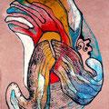 Mantra Bufo, mixta sobre papel, 22 x 16 cms, marvilla/2014