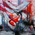 Ciudad y Smog, mixta sobre cartón, 29 x 29 cms, 2009