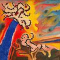 Bajo el Árbol del Conocimiento - Mixta sobre tela 30 x 30 cm