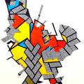 Le Coq de Saint Pierre - Mixta sobre papel 39 x 30 cms, 2012,  VENDIDO
