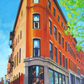 "Lower H.H. Hay Block, Portland Maine, Acrylic on wood, 16""x24.5"", 2014"