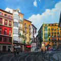 "Plaza de Saintiago (Bilbao), acrylic on wood, 30""x24""x1.5"", 2013"