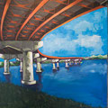 "Casco Bay Bridge #3, acrylic on wood, 24""x20""x1"", 2010, (SOLD)"