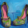 "Green Shoes, oil on panel, 12""x9"", 2008"