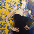 "Yellow Wallpaper, acrylic on wood, 18""x24""x1"", 2012 (SOLD)"