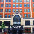 "The State Theatre (Portland, Maine), acrylic on wood, 12""x15"", 2013"