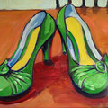 "Green Shoes, oil on panel, 14""x11"", 2008"