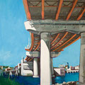 "Casco Bay Bridge, acrylic on wood, 20""x24""x1"", 2010, (SOLD)"