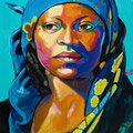 "Fulani Woman, acrylic on wood, 18""x24""x1"", 2009, sold"