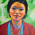 "Bhutan Villager, acrylic on wood, 18""x24""x1"", 2010"