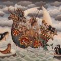 "Marie Amalia Bartolini, ""L'Arche de Noe"", Hinterglasmalerei, 40 x 50 cm, 2014, verkauft - sold"