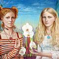 """Amanda Sage, """"Die Vrbka Schwestern"""", Acryl, Casein, Öl auf Leinwand, 80 x 60cm, 2004, Leihgabe  - private collection"""