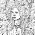 "Laura Borealisis, ""Oracle Portal"", Bleistift auf Papier, 47 x 61 cm, 2012, verkauft - sold"