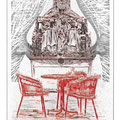 Gnadenstuhl (mercy seat), 2014, digital drypoint on PVC fabric, 200 x 120 cm