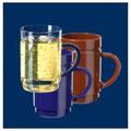 Teeglas transparent / blau / braun