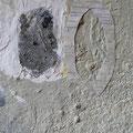 Asche, Marmohrmehl, Collage auf Malpappe