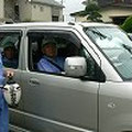 2008年 海楽南自治会防犯パトロール 役員4〜5名が交代で、ユニフォームを着て小型自動車で町内を巡回
