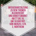 Flyer zu der Bleiberechts- und Arbeitsmarktveranstaltung, Projekt Drei Bausteine