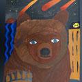 Selbstporträt mit Tier, 2014, 5.Kl., Gouache auf Papier