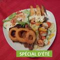 Assiette de côte levée B.B.Q et brochette de poulet