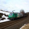 Die Fret als Zuglok am 5.2.2011 zwischen Muldenhütten und Niederbobritzsch