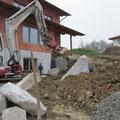 16.11.2012: Steinmauer unterhalb der Terrasse