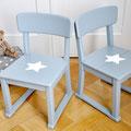 Kindergartenstühle, restauriert, grau mit Stern