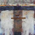 ANGESCHWEMMT, 2016 – Acryl, Collage auf Leinwand