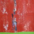 LEBENDIG ROT, Öl auf Buchbinderpappe, 55 x 44 cm, 1998