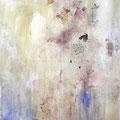 WINTERREISE I, 2015 – Acryl, Pigmente, Lapislazuli, Aquamarin, Rosen auf Leinwand, 145 x120 cm
