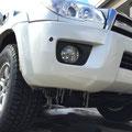 千代田に到着①気温は氷点下・・・車は氷柱のコーティング?!