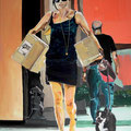 Famke - Shopping, Acryl, 80 x 100