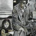 Das Mädchen mit der roten Schleife, Acryl, 80 x 100