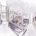 Atelier Feynsinn Innenarchitektur - Rolf Kullmann  | Wohnzimmer - Skizze Planung