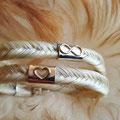 [Nr. 35] Wickelarmband in Fischgrätenflechtung mit zwei Mittelteilen mit Goldverzierung ca. 160€ (in Silber 139€)